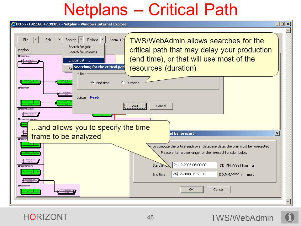 HORIZONT 45 TWS/WebAdmin Netplans – Critical Path TWS/WebAdmin allows searches for the critical path that may delay your production (end time), or tha