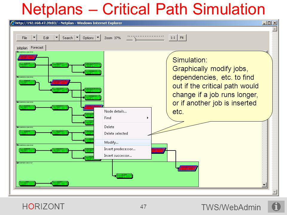 HORIZONT 47 TWS/WebAdmin Netplans – Critical Path Simulation...collapsed cluster, click on + to expand again Simulation: Graphically modify jobs, depe