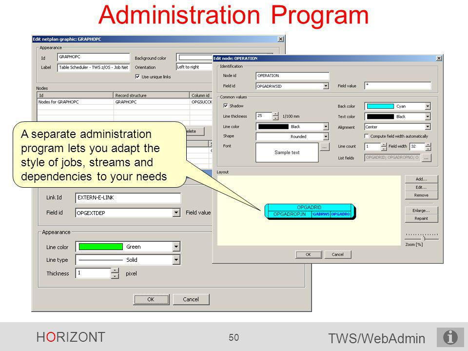 HORIZONT 50 TWS/WebAdmin Administration Program A separate administration program lets you adapt the style of jobs, streams and dependencies to your n