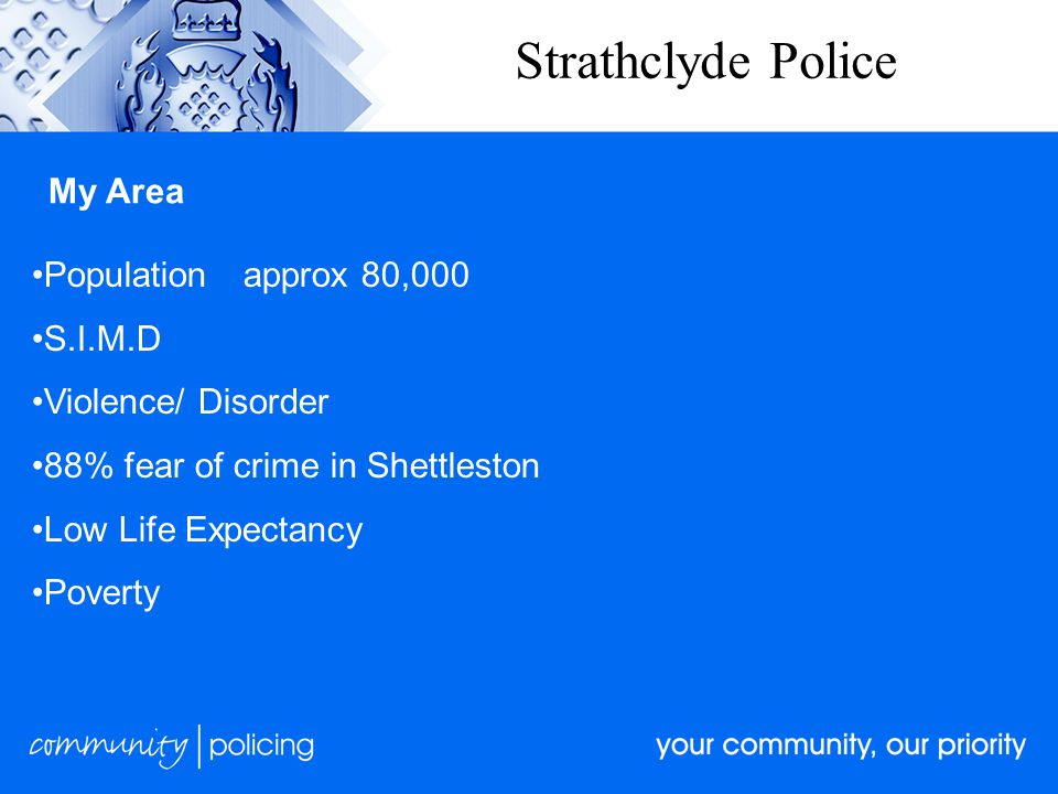 Strathclyde Police My Area Populationapprox 80,000 S.I.M.D Violence/ Disorder 88% fear of crime in Shettleston Low Life Expectancy Poverty