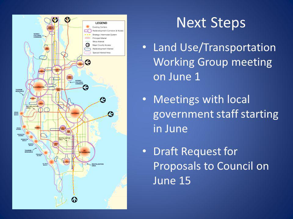 Next Steps Land Use/Transportation Working Group meeting on June 1 Meetings with local government staff starting in June Draft Request for Proposals to Council on June 15