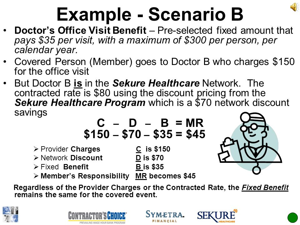 Example - Scenario B Doctors Office Visit Benefit – Pre-selected fixed amount that pays $35 per visit, with a maximum of $300 per person, per calendar year.