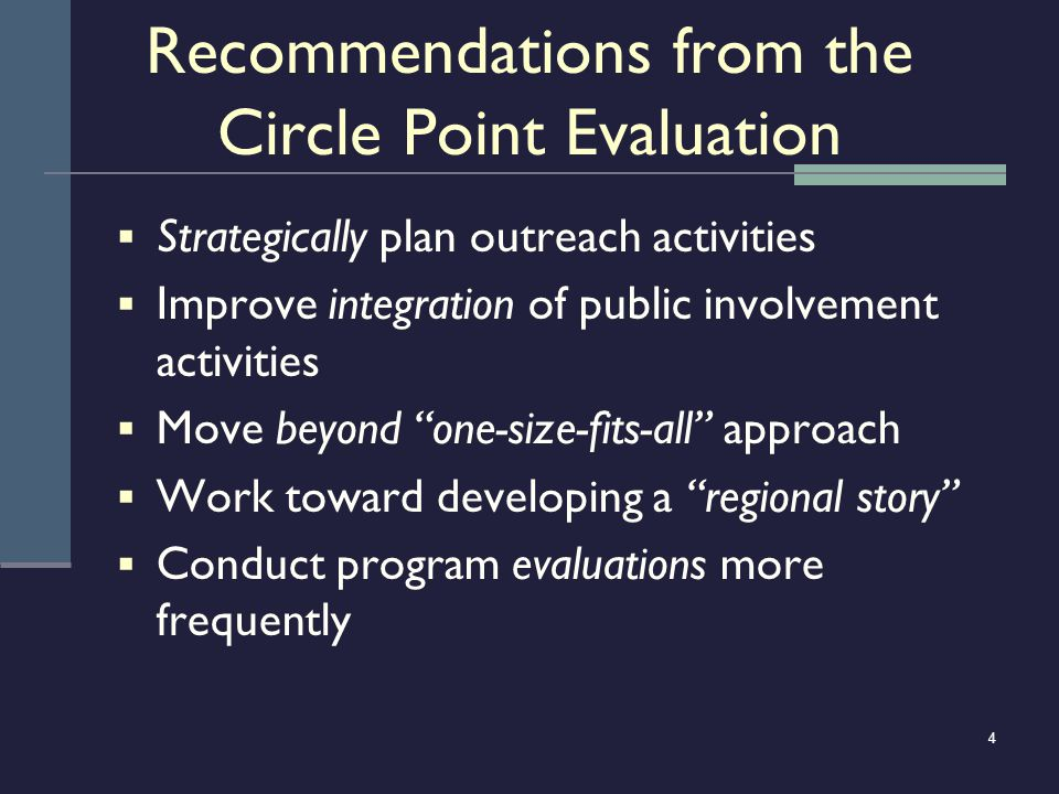 4 Recommendations from the Circle Point Evaluation Strategically plan outreach activities Improve integration of public involvement activities Move be