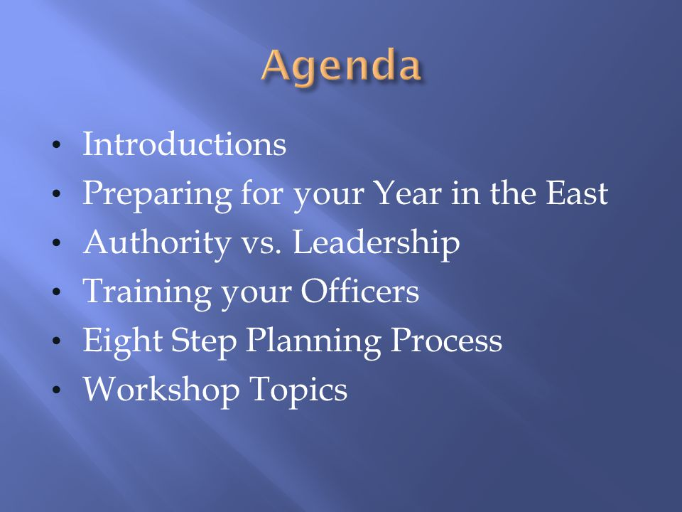Introductions Preparing for your Year in the East Authority vs. Leadership Training your Officers Eight Step Planning Process Workshop Topics