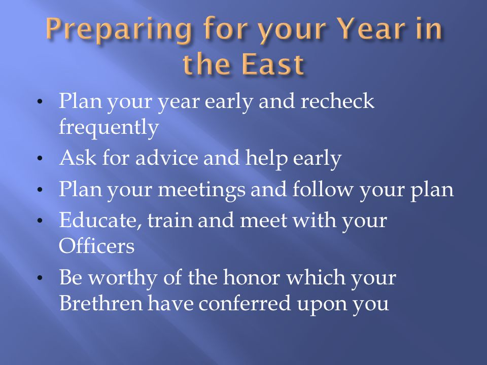 Four ways to help your Lodge Enlist the commitment and participation of your Brothers and Officers There are many activities outside that compete for the attention of todays men, how many can you fulfill at your Lodge Plan activities and events that are rewarding to your members Involving your Officers ensures consistency over the years and leaves the Lodge in good shape when you leave the East