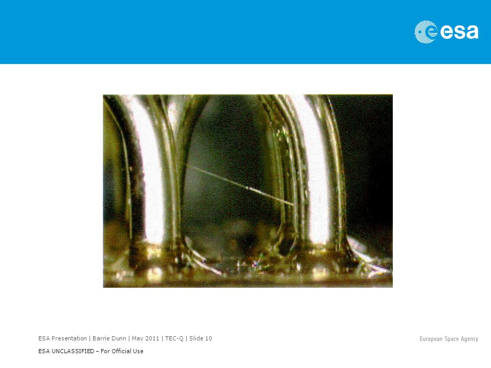 ESA Presentation | Barrie Dunn | May 2011 | TEC-Q | Slide 10 ESA UNCLASSIFIED – For Official Use