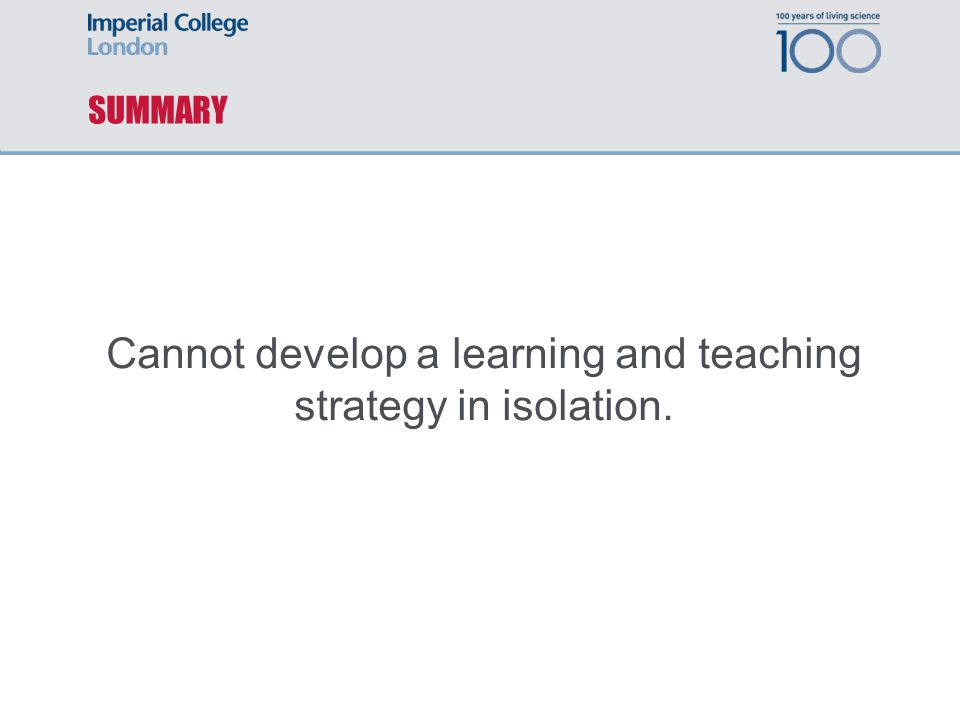 SUMMARY Cannot develop a learning and teaching strategy in isolation.