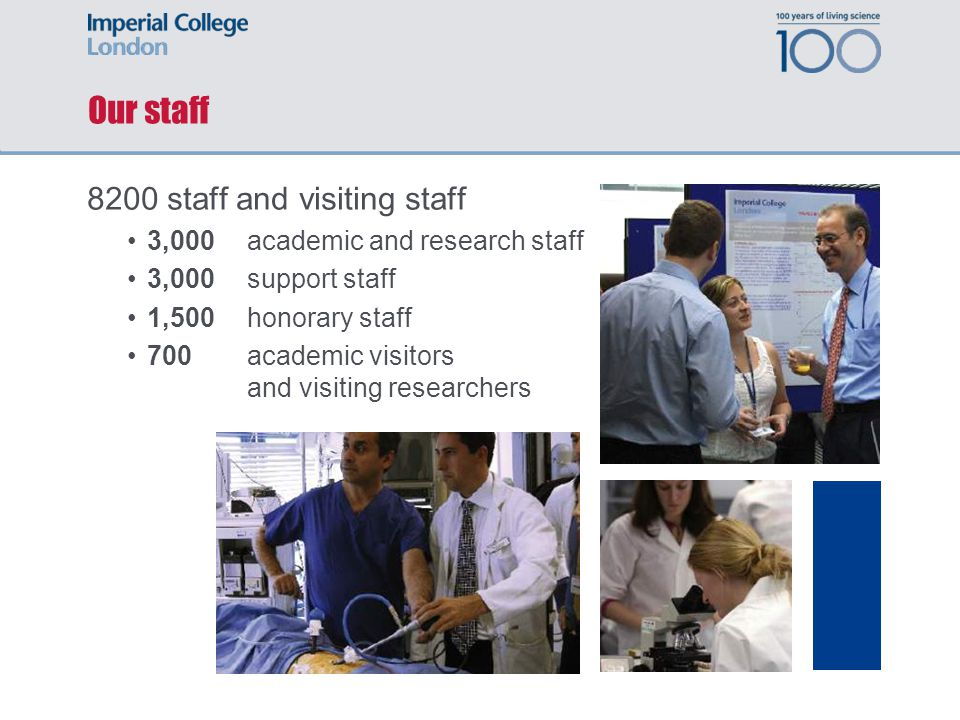 Our staff 8200 staff and visiting staff 3,000 academic and research staff 3,000 support staff 1,500 honorary staff 700 academic visitors and visiting researchers