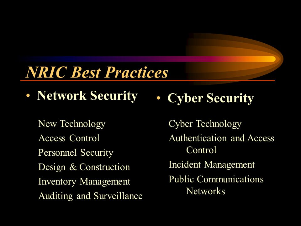 NRIC Best Practices Network Security Cyber Security New Technology Access Control Personnel Security Design & Construction Inventory Management Auditing and Surveillance Cyber Technology Authentication and Access Control Incident Management Public Communications Networks
