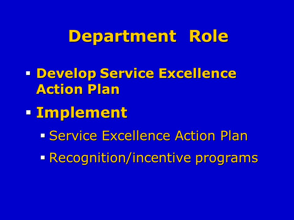 Department Role Develop Service Excellence Action Plan Develop Service Excellence Action Plan Implement Implement Service Excellence Action Plan Service Excellence Action Plan Recognition/incentive programs Recognition/incentive programs
