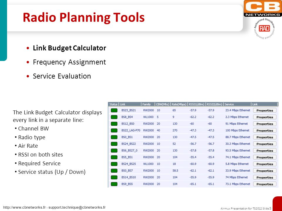 Airmux Presentation for TS2012 Slide 5 http://www.cbnetworks.fr - support.technique@cbnetworks.fr Radio Planning Tools Link Budget Calculator Frequency Assignment Service Evaluation The Link Budget Calculator displays every link in a separate line: Channel BW Radio type Air Rate RSSI on both sites Required Service Service status (Up / Down)