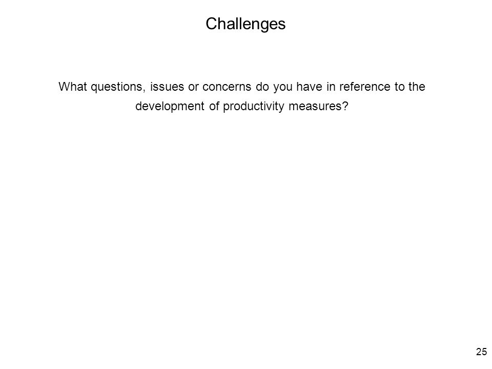 25 What questions, issues or concerns do you have in reference to the development of productivity measures.