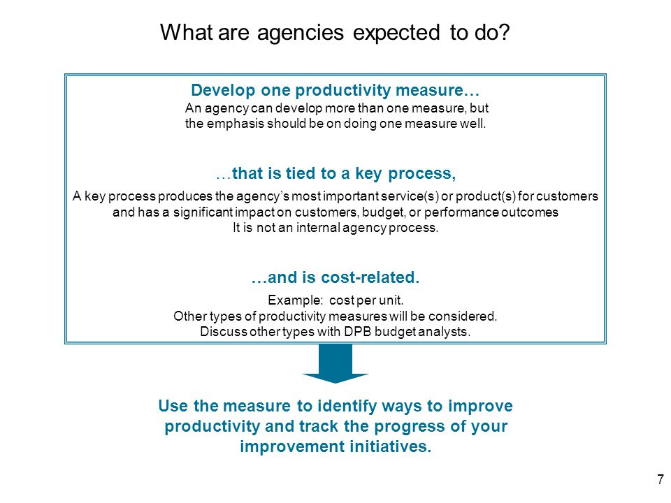 7 Develop one productivity measure… An agency can develop more than one measure, but the emphasis should be on doing one measure well.