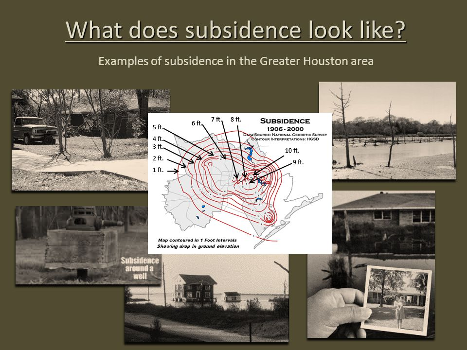 What does subsidence look like? Examples of subsidence in the Greater Houston area 1 ft. 2 ft. 3 ft. 4 ft. 5 ft. 6 ft. Showing drop in ground elevatio