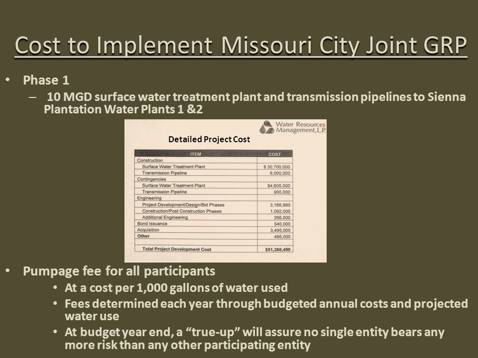 Cost to Implement Missouri City Joint GRP Phase 1 – 10 MGD surface water treatment plant and transmission pipelines to Sienna Plantation Water Plants