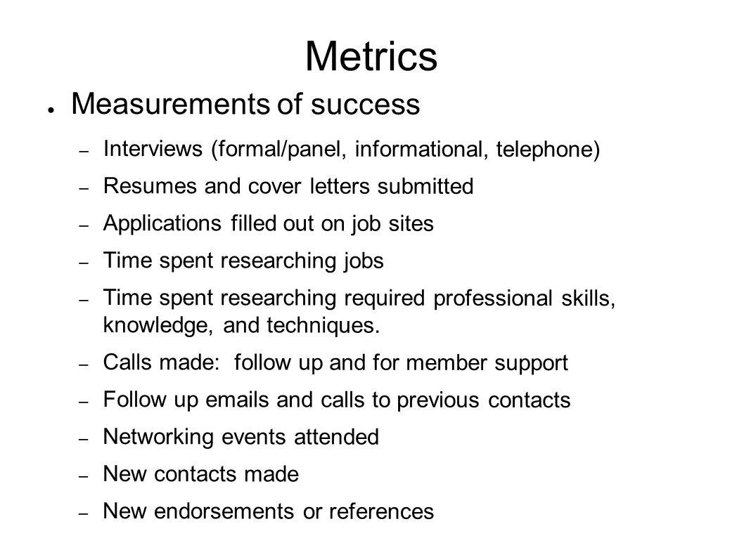 Metrics Measurements of success – Interviews (formal/panel, informational, telephone) – Resumes and cover letters submitted – Applications filled out on job sites – Time spent researching jobs – Time spent researching required professional skills, knowledge, and techniques.