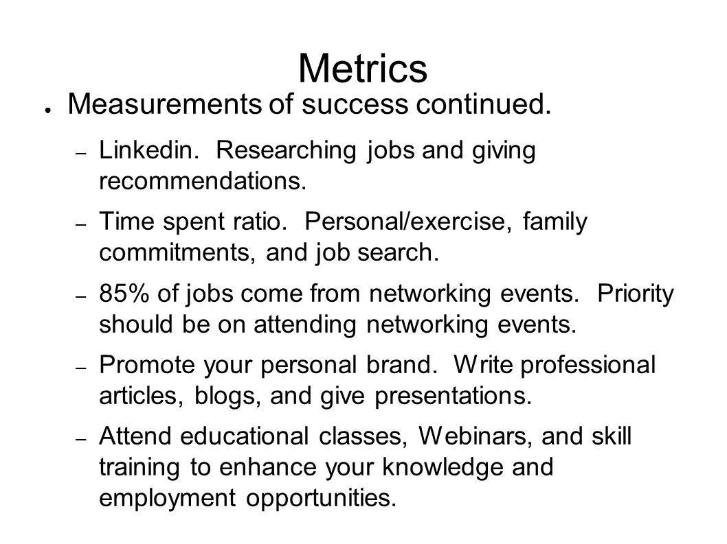 Metrics Measurements of success continued. – Linkedin.
