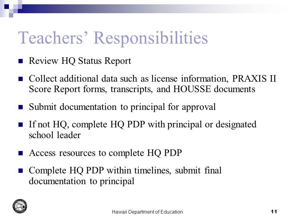 Hawaii Department of Education11 Teachers Responsibilities Review HQ Status Report Collect additional data such as license information, PRAXIS II Score Report forms, transcripts, and HOUSSE documents Submit documentation to principal for approval If not HQ, complete HQ PDP with principal or designated school leader Access resources to complete HQ PDP Complete HQ PDP within timelines, submit final documentation to principal
