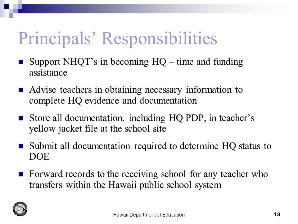 Hawaii Department of Education13 Principals Responsibilities Support NHQTs in becoming HQ – time and funding assistance Advise teachers in obtaining n