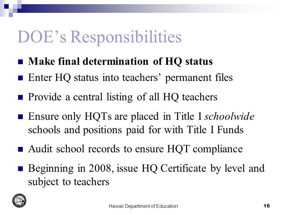 Hawaii Department of Education16 DOEs Responsibilities Make final determination of HQ status Enter HQ status into teachers permanent files Provide a c