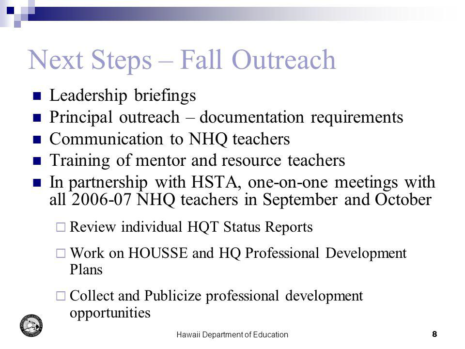 Hawaii Department of Education9 HQT Materials Letter to CASs and principals Sample letter to teachers Schedule of teacher outreach meetings Principals Report on Status of 2006-07 Non- HQ teachers (due to DOE by 10/15) HQT Guidelines HQT Flowcharts