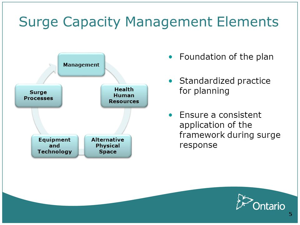Surge Capacity Management Elements Management Health Human Resources Alternative Physical Space Equipment and Technology Surge Processes Foundation of the plan Standardized practice for planning Ensure a consistent application of the framework during surge response 5