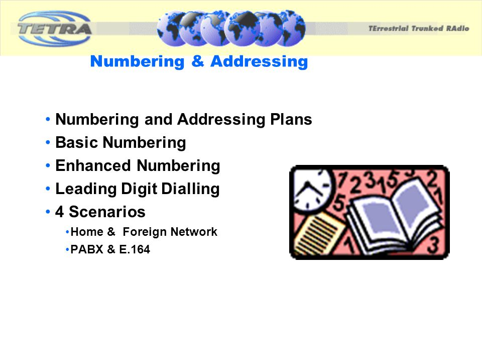 Numbering & Addressing Numbering and Addressing Plans Basic Numbering Enhanced Numbering Leading Digit Dialling 4 Scenarios Home & Foreign Network PAB
