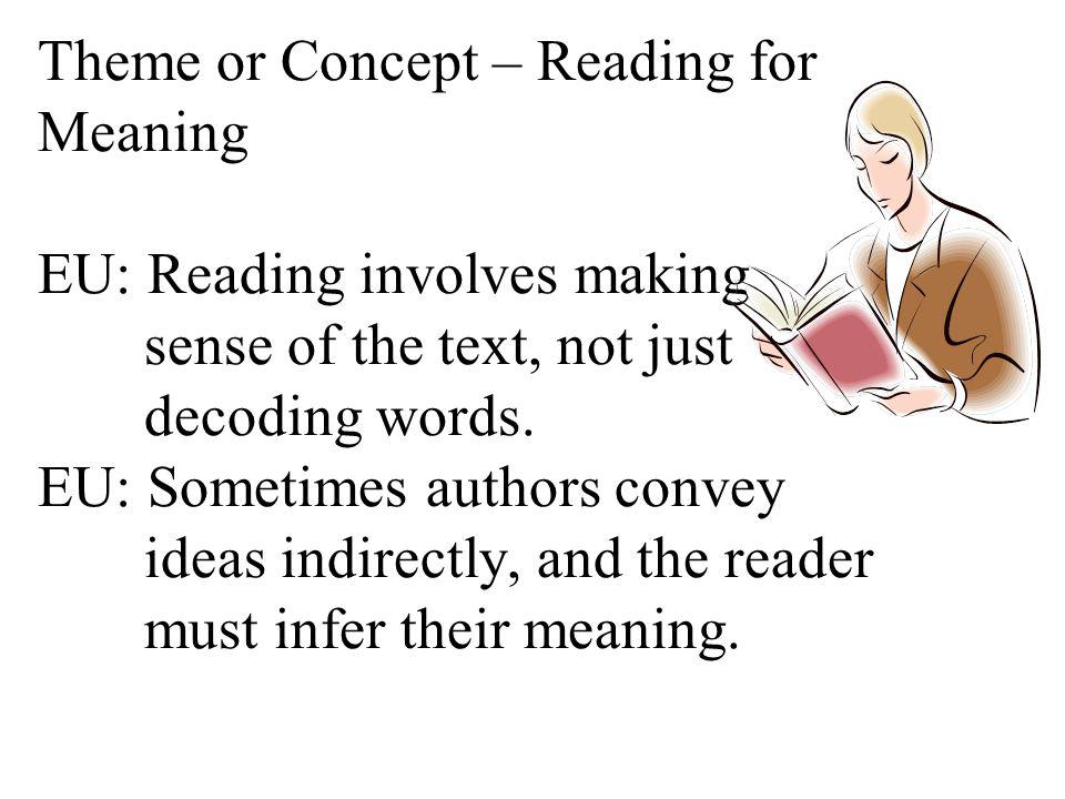 Theme or Concept – Reading for Meaning EU: Reading involves making sense of the text, not just decoding words.