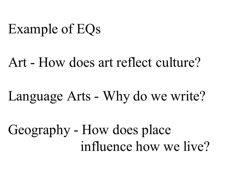 Example of EQs Art - How does art reflect culture.