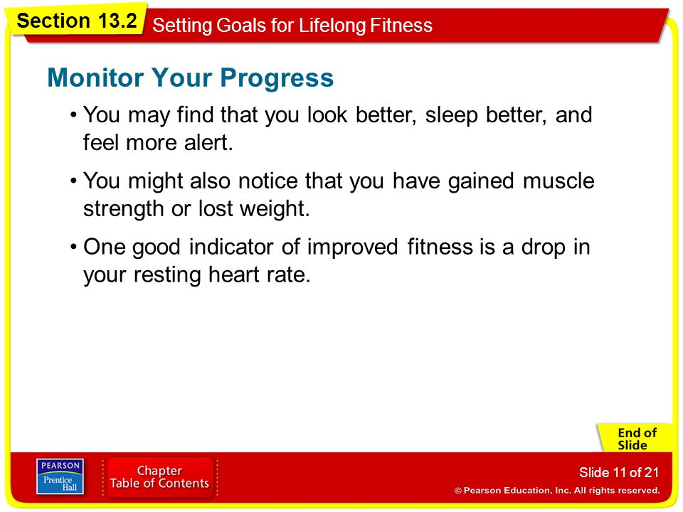 Section 13.2 Setting Goals for Lifelong Fitness Slide 11 of 21 You may find that you look better, sleep better, and feel more alert. Monitor Your Prog