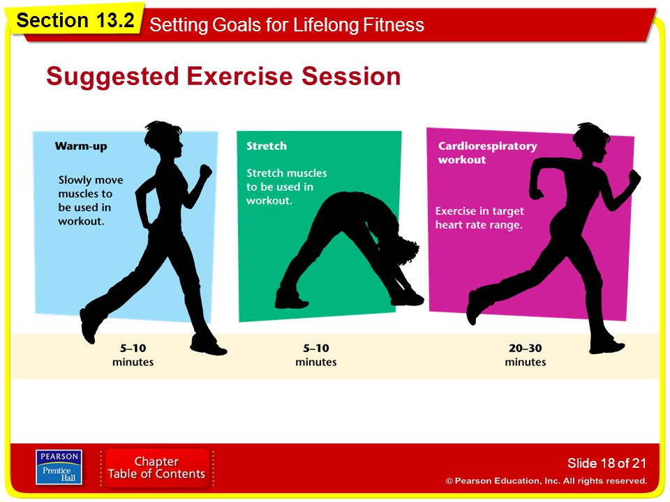 Section 13.2 Setting Goals for Lifelong Fitness Slide 18 of 21 Suggested Exercise Session