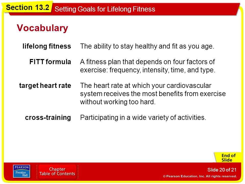 Section 13.2 Setting Goals for Lifelong Fitness Slide 20 of 21 Vocabulary lifelong fitnessThe ability to stay healthy and fit as you age. FITT formula