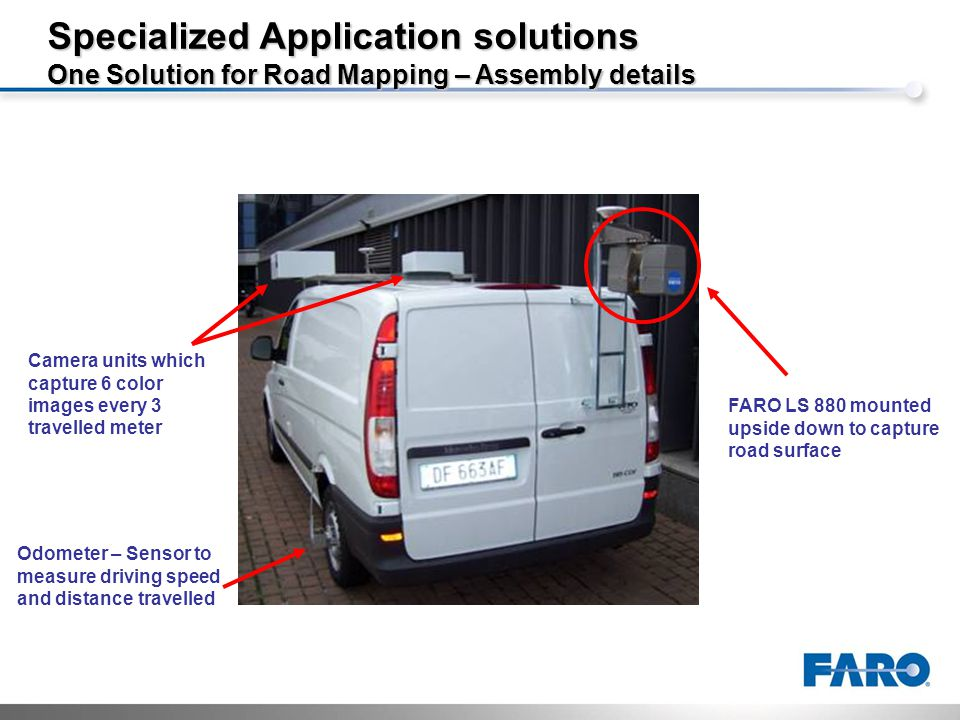 Specialized Application solutions One Solution for Road Mapping – Assembly details FARO LS 880 mounted upside down to capture road surface Camera units which capture 6 color images every 3 travelled meter Odometer – Sensor to measure driving speed and distance travelled