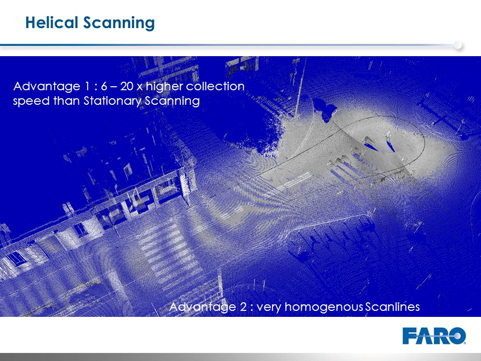 Helical Scanning Advantage 2 : very homogenous Scanlines Advantage 1 : 6 – 20 x higher collection speed than Stationary Scanning