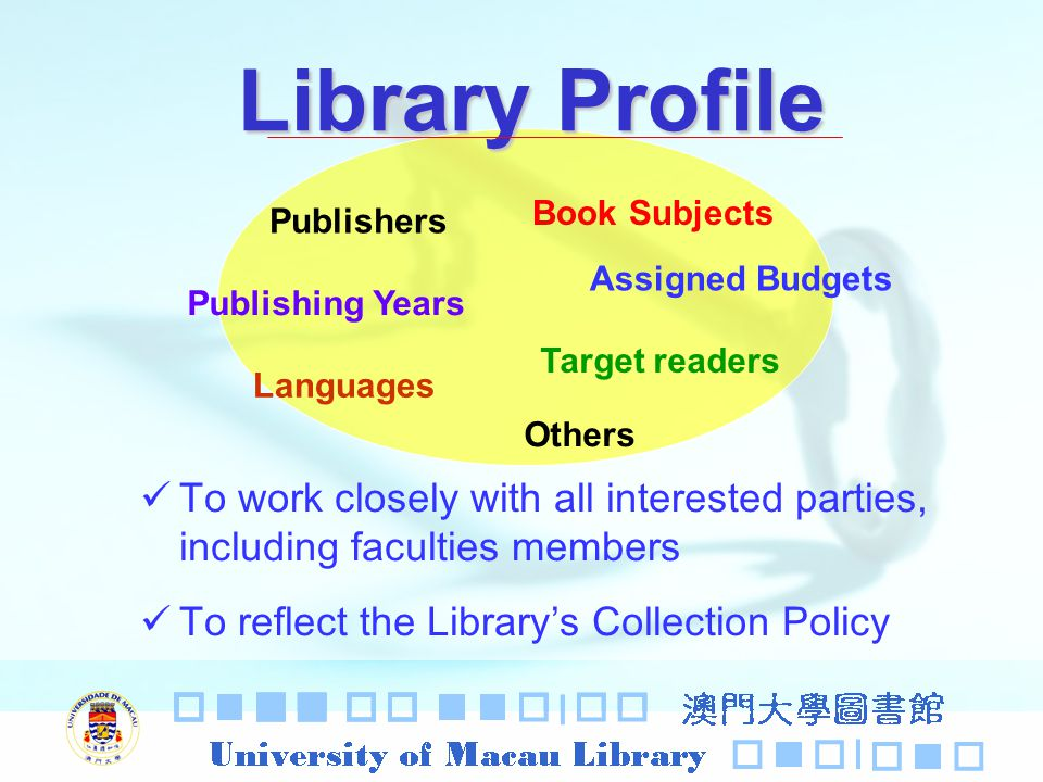 Library Profile To work closely with all interested parties, including faculties members To reflect the Librarys Collection Policy Publishers Publishing Years Book Subjects Languages Target readers Others Assigned Budgets