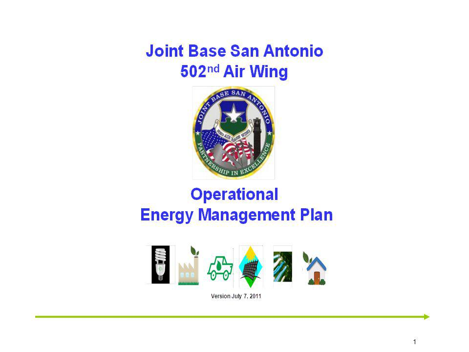 Monthly Management Review Agenda Items 1) Review Performance Scorecard Project Status and Metrics 2) Consolidated JBSA Overall Trend of Actual Conservation attainment vs.
