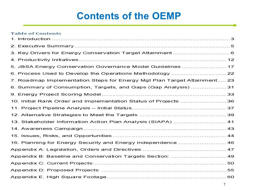 The Joint Base San Antonio - Operational Energy Management Plan (OEMP) is designed to align with legislative goals and targets and simultaneously focus on the current dynamic requirements of our mission.