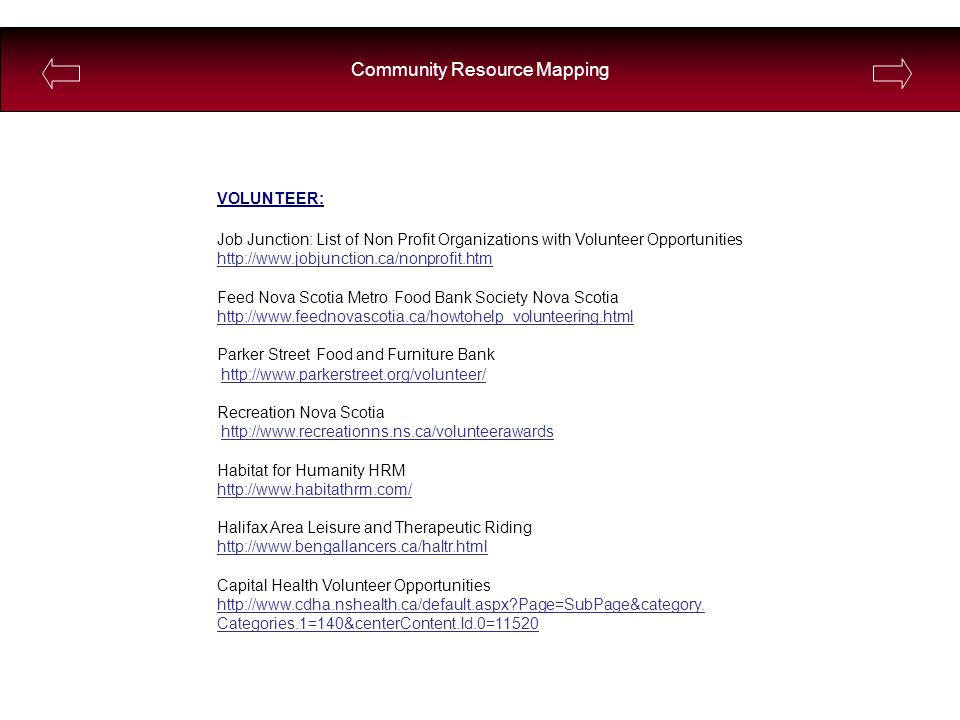 Community Resource Mapping VOLUNTEER: Job Junction: List of Non Profit Organizations with Volunteer Opportunities http://www.jobjunction.ca/nonprofit.