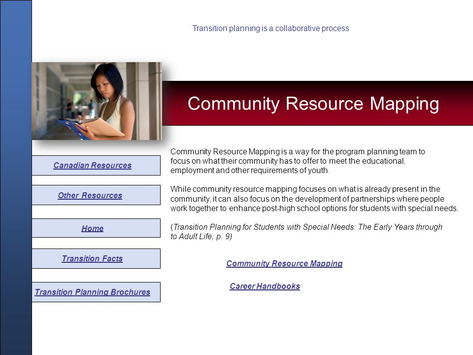 Other Resources Home Transition Facts Transition Planning Brochures Community Resource Mapping Some Canadian resources that may be helpful in transition planning have been gathered from various provinces.