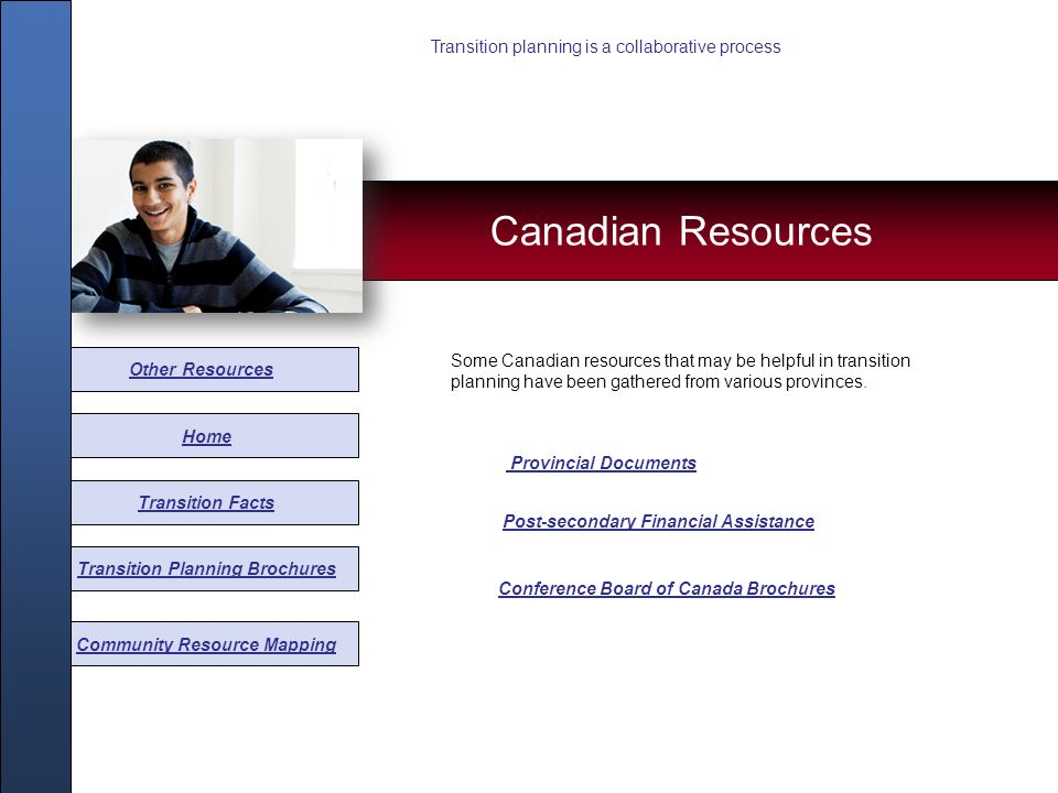 Other Resources Home Transition Facts Transition Planning Brochures Community Resource Mapping Some Canadian resources that may be helpful in transiti