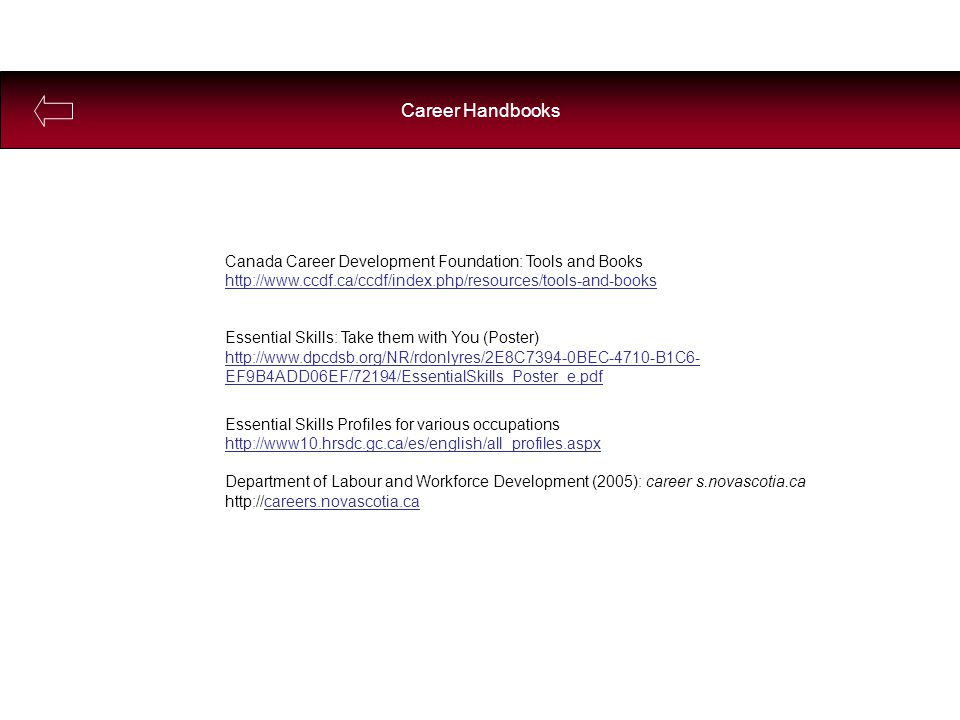 Canada Career Development Foundation: Tools and Books http://www.ccdf.ca/ccdf/index.php/resources/tools-and-books Essential Skills: Take them with You