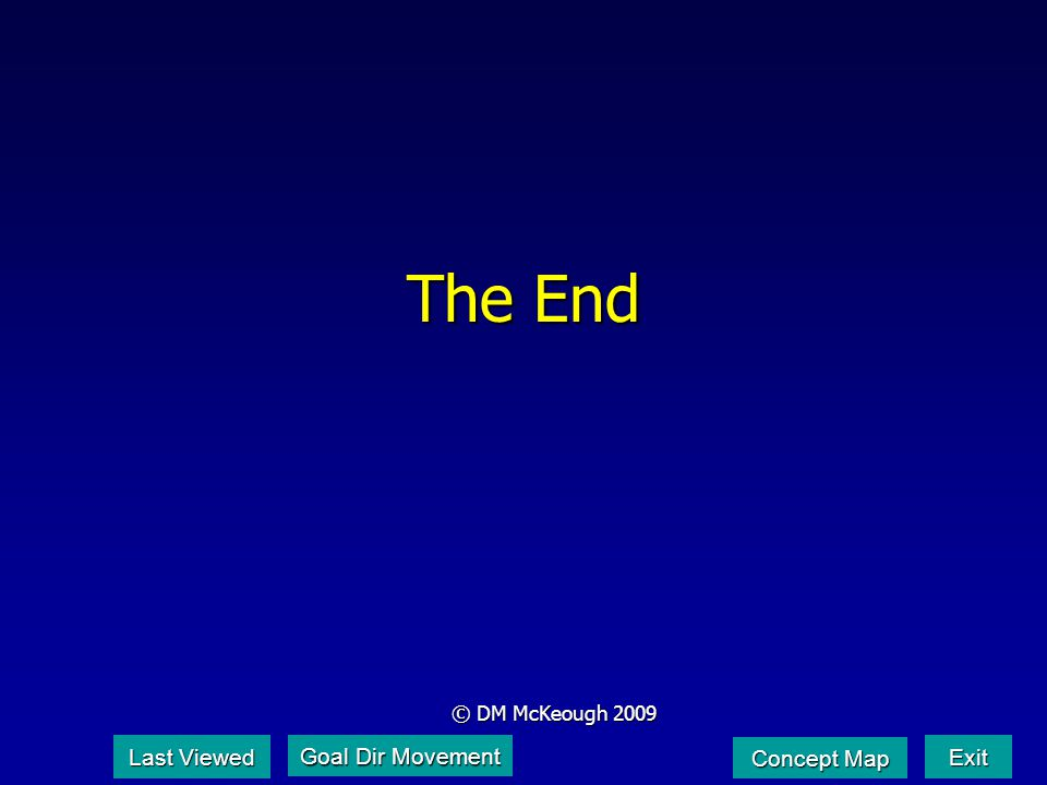 The End © DM McKeough 2009 Last Viewed Last Viewed Exit Concept Map Concept Map Goal Dir Movement Goal Dir Movement