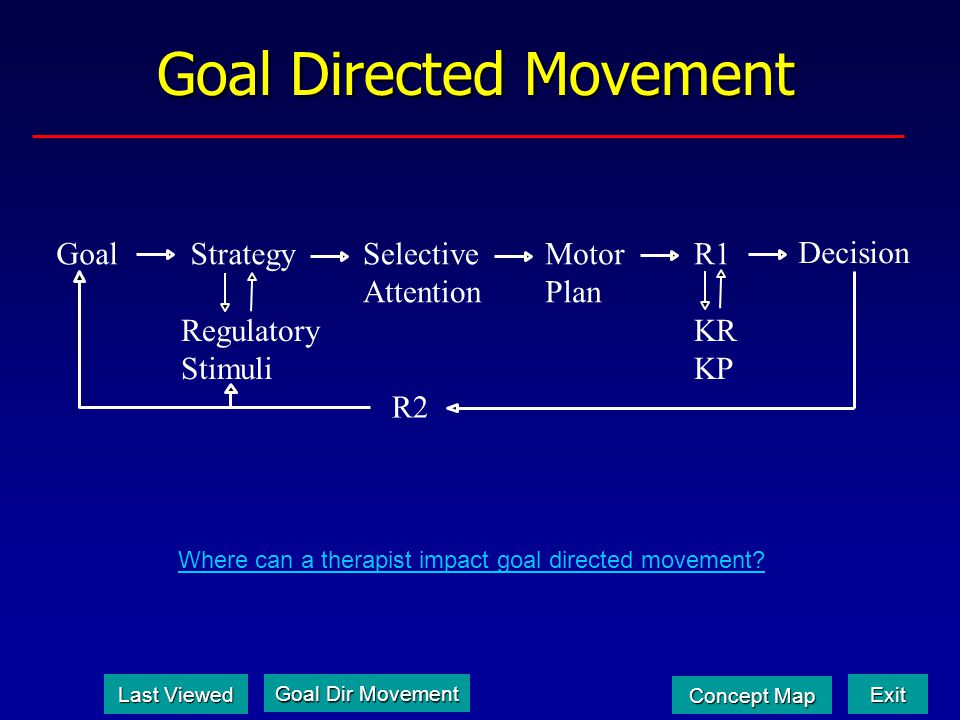 Goal Directed Movement GoalStrategySelective Attention Motor Plan Decision Regulatory Stimuli R2 R1 KR KP Where can a therapist impact goal directed movement.