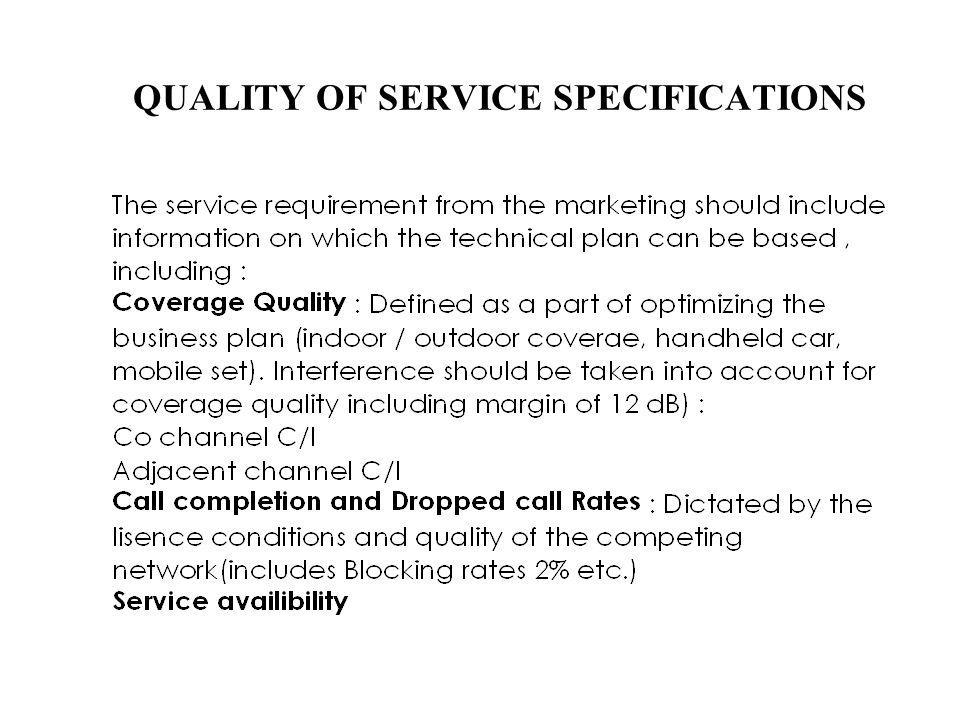QUALITY OF SERVICE SPECIFICATIONS