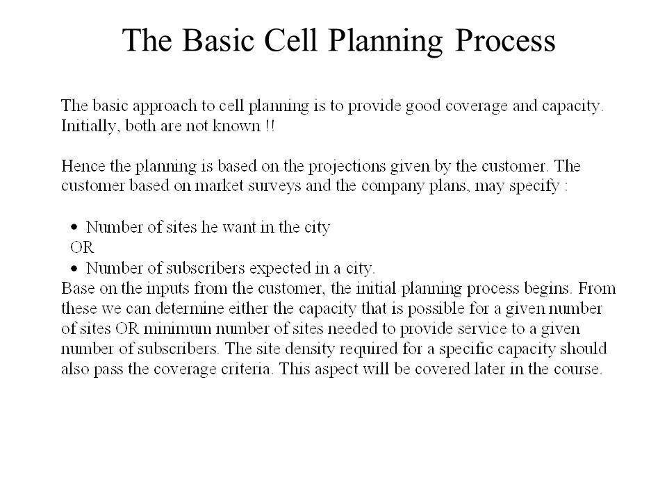 The Basic Cell Planning Process