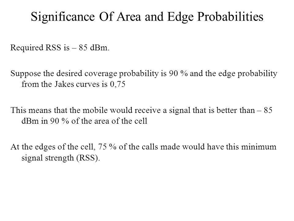 Significance Of Area and Edge Probabilities Required RSS is – 85 dBm.