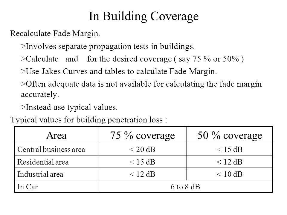 In Building Coverage Recalculate Fade Margin. >Involves separate propagation tests in buildings.