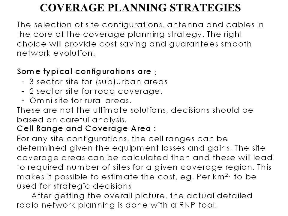 COVERAGE PLANNING STRATEGIES
