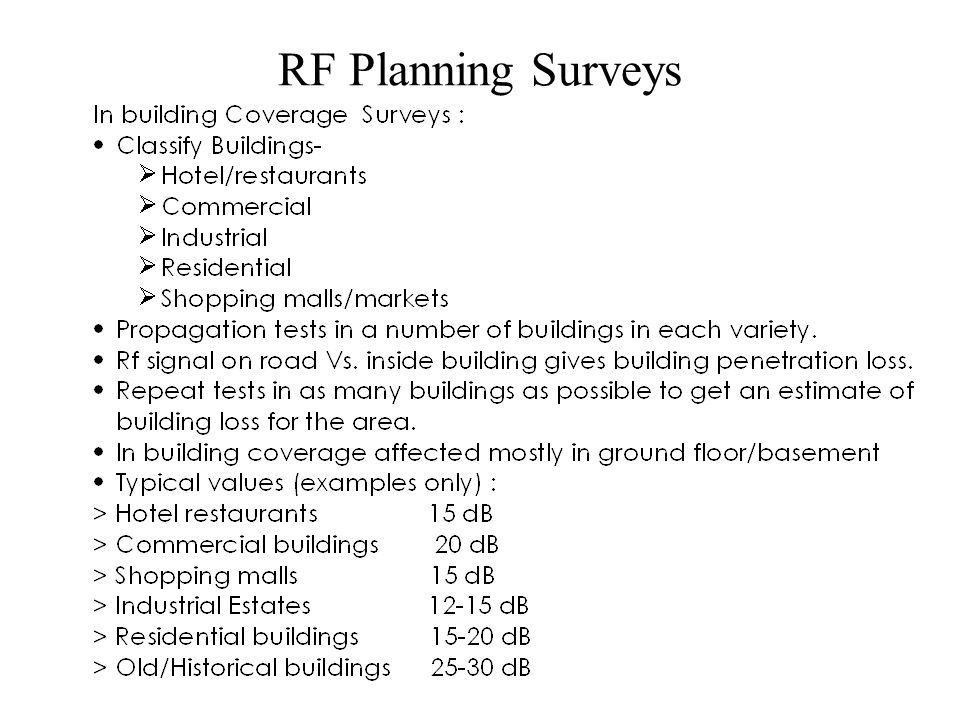 RF Planning Surveys