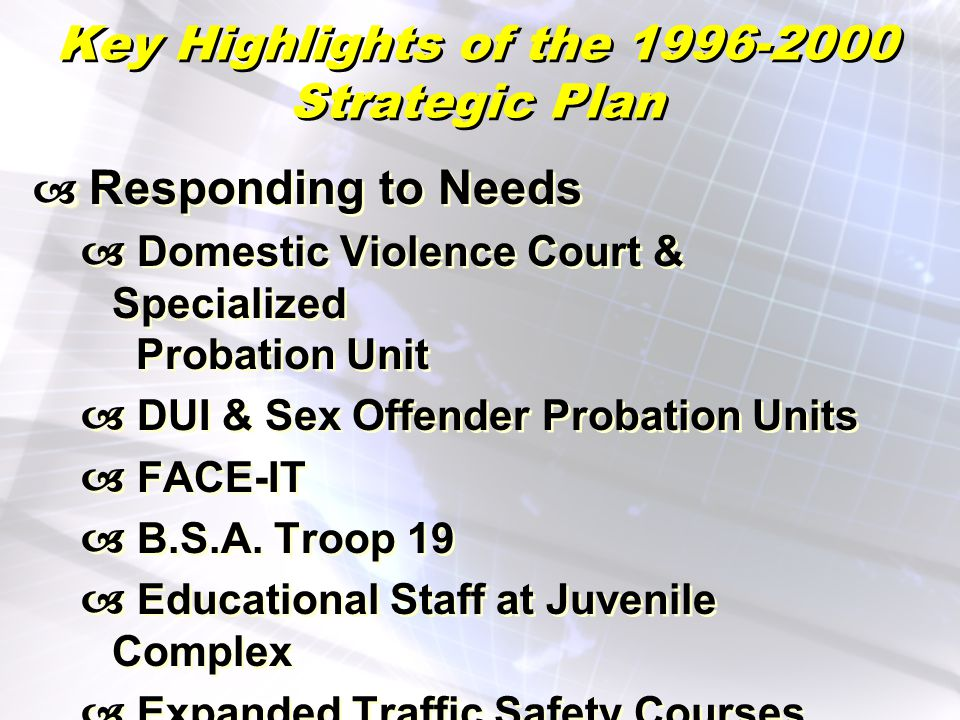 Key Highlights of the 1996-2000 Strategic Plan Responding to Needs Domestic Violence Court & Specialized Probation Unit DUI & Sex Offender Probation Units FACE-IT B.S.A.